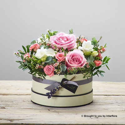 Rose Blush New Baby Hatbox with James Junior Bear