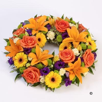 Rose and Lily Wreath   Vibrant