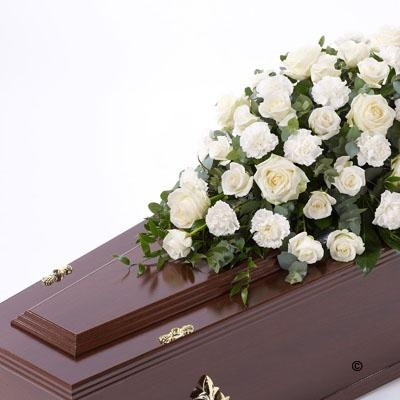 Rose and Carnation Casket Spray   White