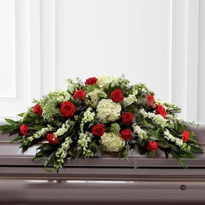 Mixed Casket Spray   Red and Green
