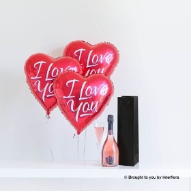 Sparkling Rose and Love Balloons